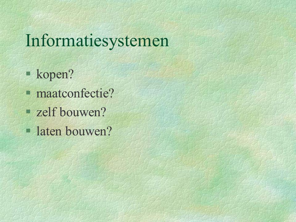 Informatiesystemen §kopen? §maatconfectie? §zelf bouwen? §laten bouwen?