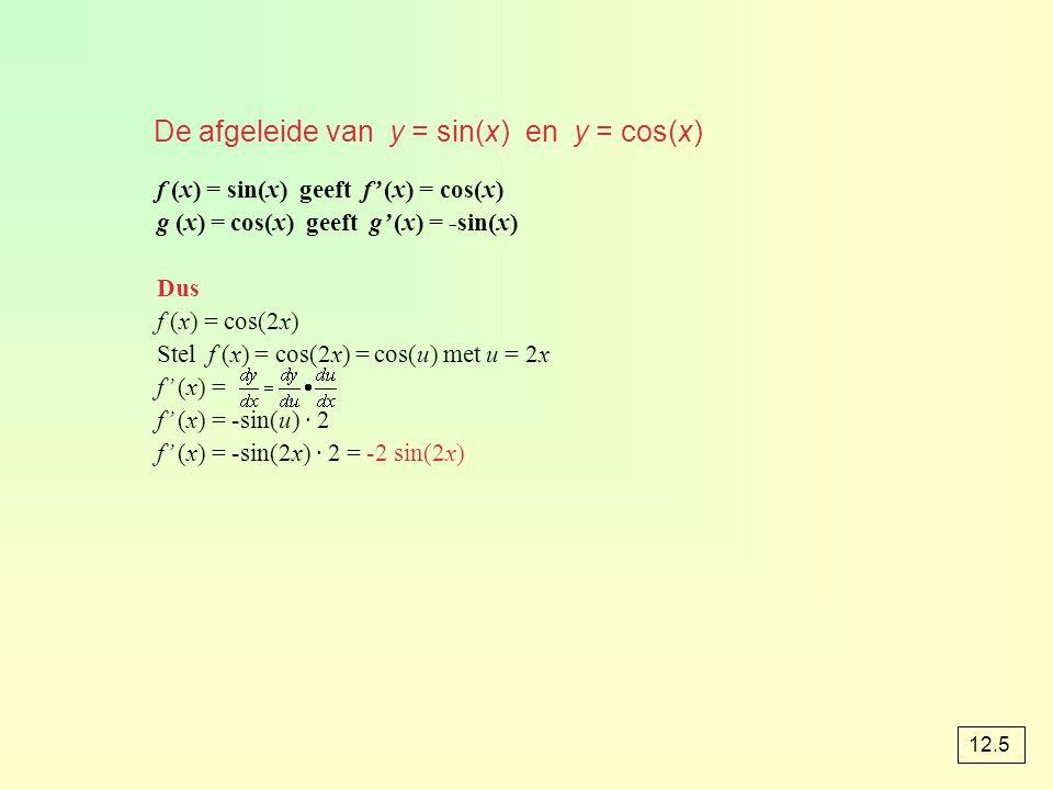 De afgeleide van y = sin(x) en y = cos(x) f (x) = sin(x) geeft f' (x) = cos(x) g (x) = cos(x) geeft g' (x) = -sin(x) Dus f (x) = cos(2x) Stel f (x) =