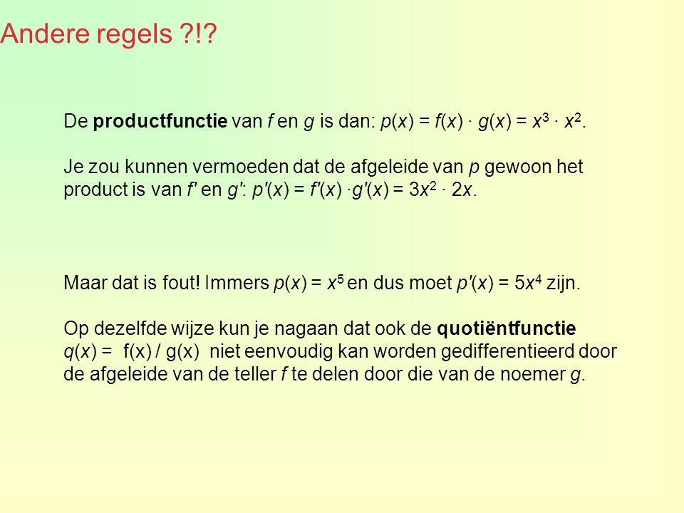 Andere regels ?!? De productfunctie van f en g is dan: p(x) = f(x) · g(x) = x 3 · x 2. Je zou kunnen vermoeden dat de afgeleide van p gewoon het produ