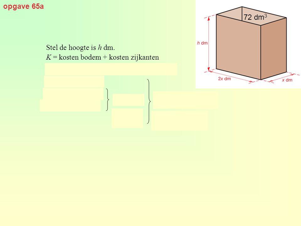 opgave 65a Stel de hoogte is h dm. K = kosten bodem + kosten zijkanten 72 dm 3