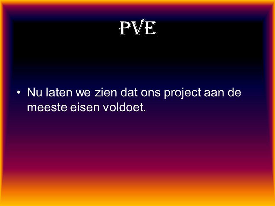 PVE Nu laten we zien dat ons project aan de meeste eisen voldoet.
