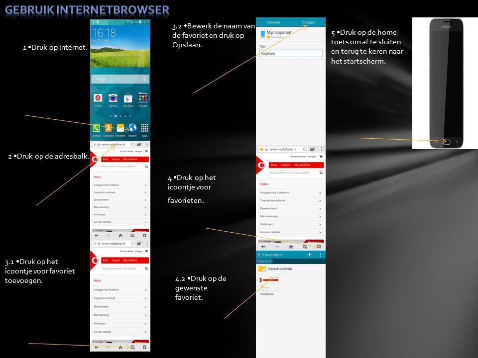 1 Druk op Internet. 2 Druk op de adresbalk. 3.1 Druk op het icoontje voor favoriet toevoegen.