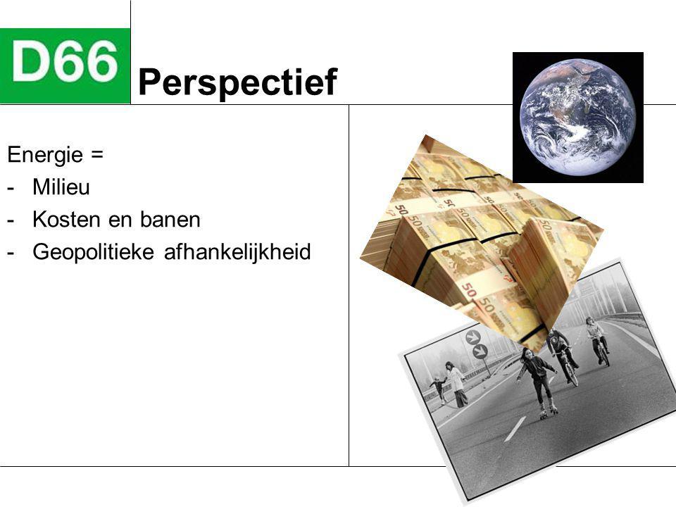Perspectief Energie = -Milieu -Kosten en banen -Geopolitieke afhankelijkheid