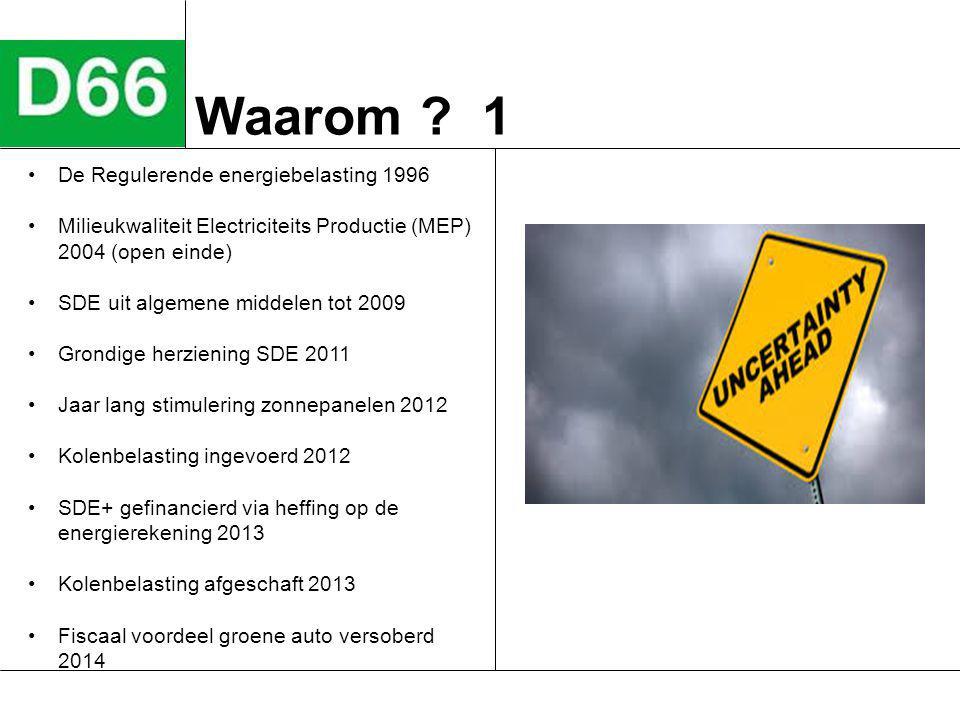 Waarom ? 1 De Regulerende energiebelasting 1996 Milieukwaliteit Electriciteits Productie (MEP) 2004 (open einde) SDE uit algemene middelen tot 2009 Gr