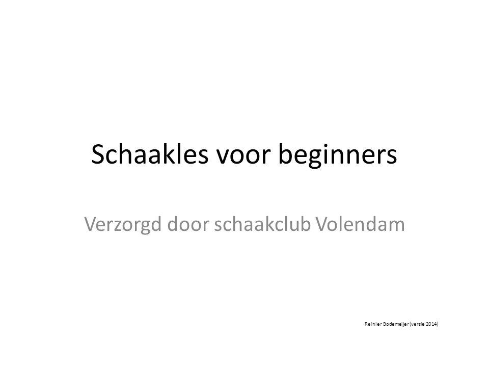 Schaakles voor beginners Verzorgd door schaakclub Volendam Reinier Bodemeijer (versie 2014)
