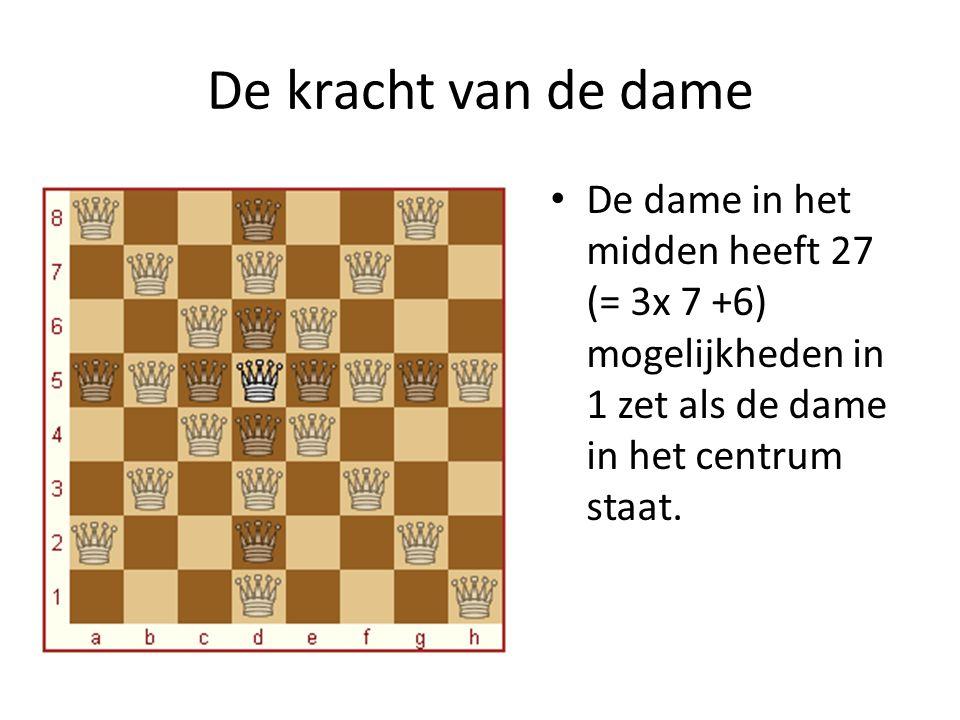 De kracht van de dame De dame in het midden heeft 27 (= 3x 7 +6) mogelijkheden in 1 zet als de dame in het centrum staat.