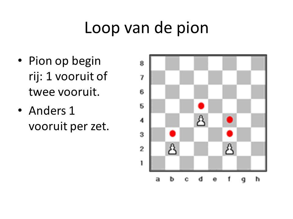 Loop van de pion Pion op begin rij: 1 vooruit of twee vooruit. Anders 1 vooruit per zet.