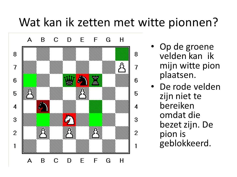 Wat kan ik zetten met witte pionnen? Op de groene velden kan ik mijn witte pion plaatsen. De rode velden zijn niet te bereiken omdat die bezet zijn. D