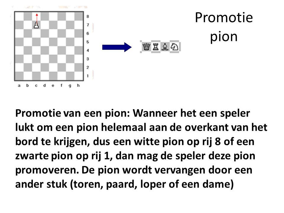 Promotie pion Promotie van een pion: Wanneer het een speler lukt om een pion helemaal aan de overkant van het bord te krijgen, dus een witte pion op r