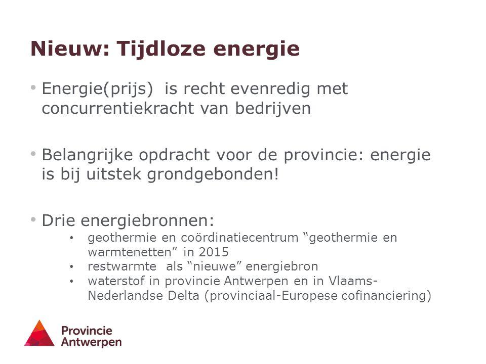 Nieuw: Tijdloze energie Energie(prijs) is recht evenredig met concurrentiekracht van bedrijven Belangrijke opdracht voor de provincie: energie is bij uitstek grondgebonden.