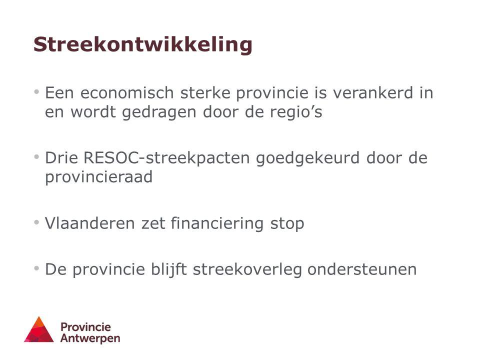 Streekontwikkeling Een economisch sterke provincie is verankerd in en wordt gedragen door de regio's Drie RESOC-streekpacten goedgekeurd door de provincieraad Vlaanderen zet financiering stop De provincie blijft streekoverleg ondersteunen