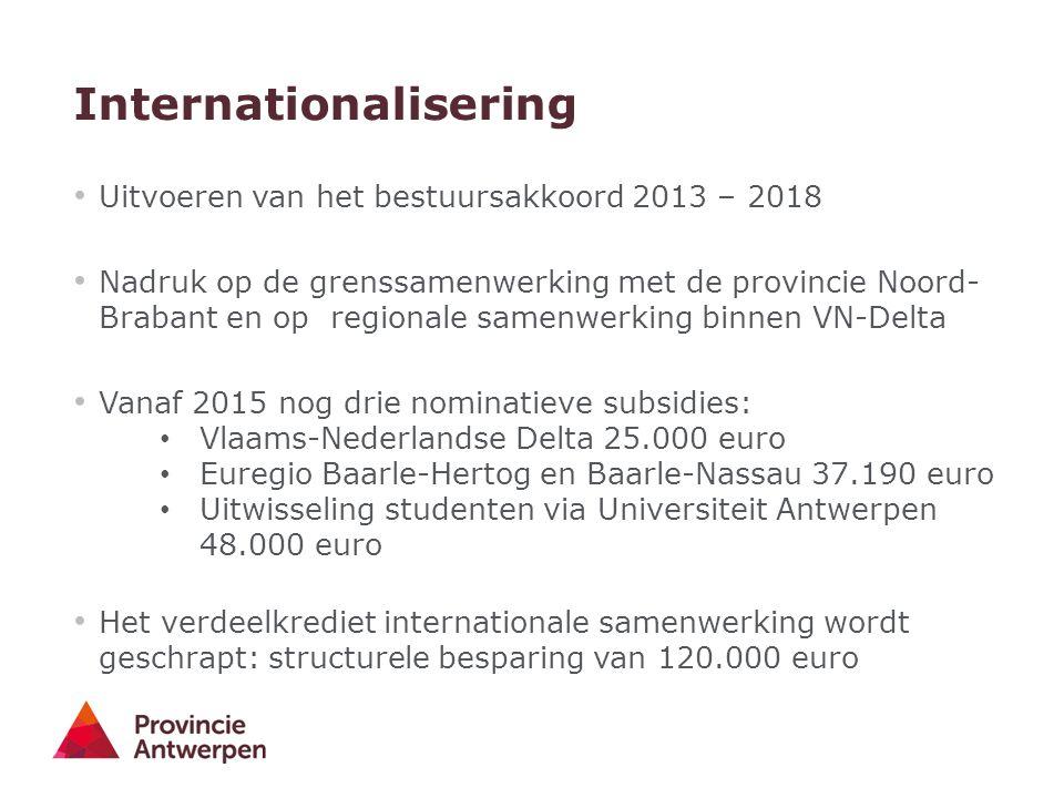 Internationalisering Uitvoeren van het bestuursakkoord 2013 – 2018 Nadruk op de grenssamenwerking met de provincie Noord- Brabant en op regionale same