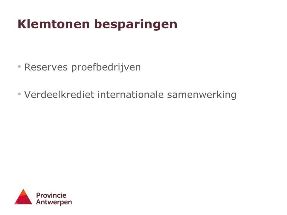 Klemtonen besparingen Reserves proefbedrijven Verdeelkrediet internationale samenwerking