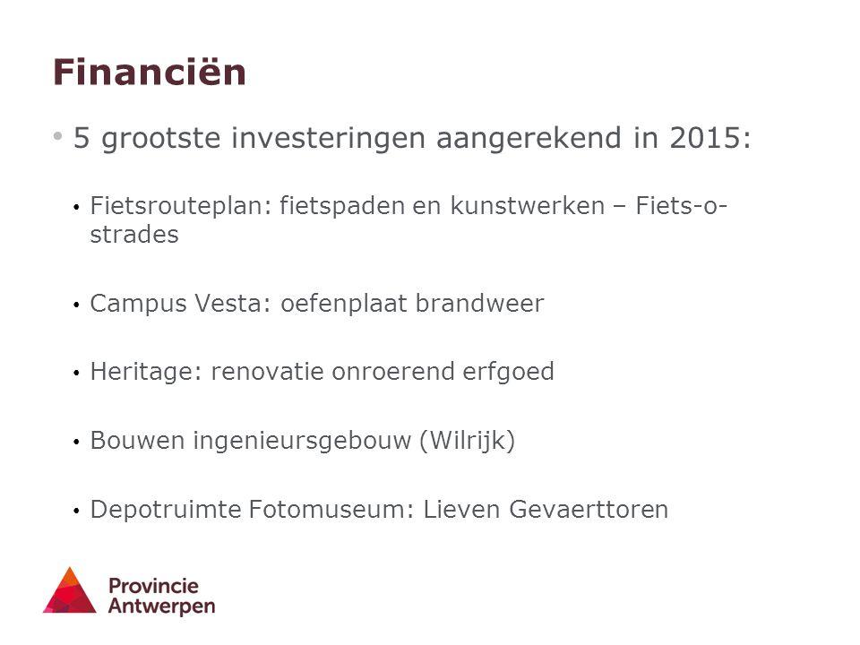 Financiën 5 grootste investeringen aangerekend in 2015: Fietsrouteplan: fietspaden en kunstwerken – Fiets-o- strades Campus Vesta: oefenplaat brandwee