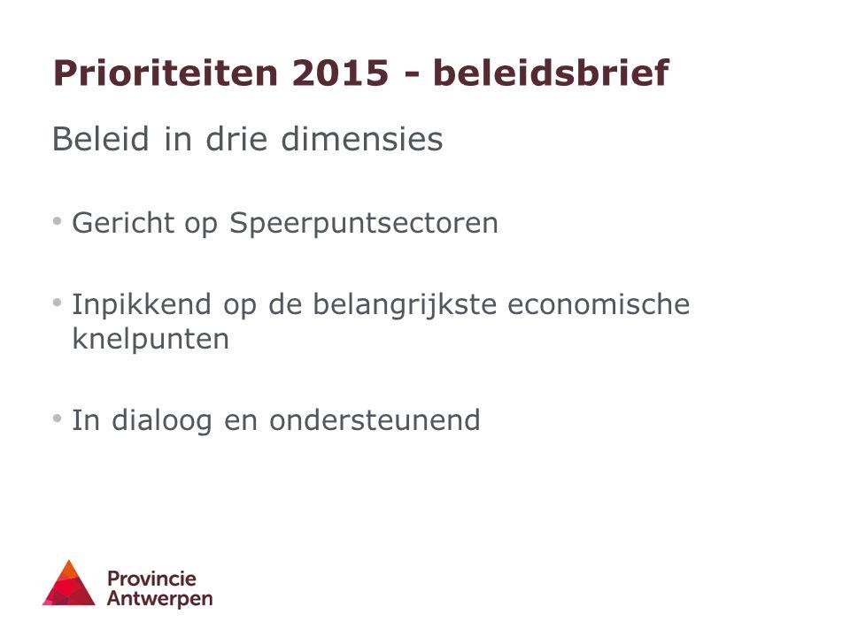 Prioriteiten 2015 - beleidsbrief Beleid in drie dimensies Gericht op Speerpuntsectoren Inpikkend op de belangrijkste economische knelpunten In dialoog en ondersteunend