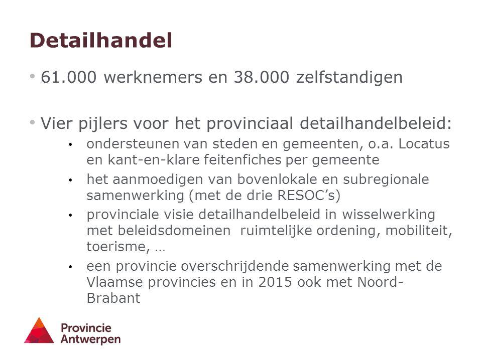Detailhandel 61.000 werknemers en 38.000 zelfstandigen Vier pijlers voor het provinciaal detailhandelbeleid: ondersteunen van steden en gemeenten, o.a.