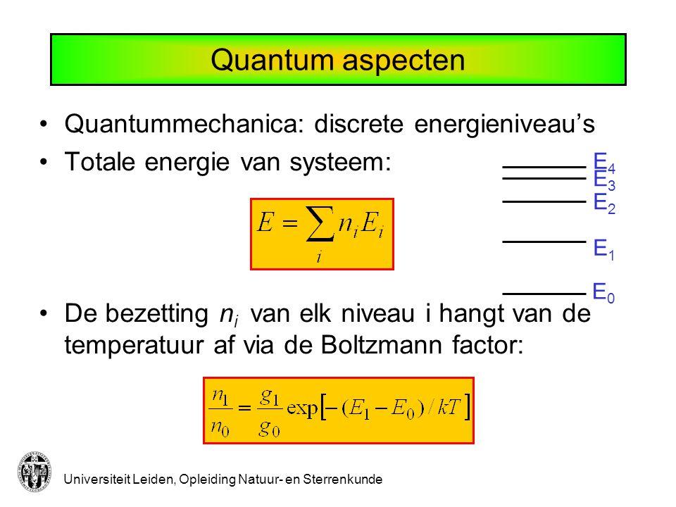 Universiteit Leiden, Opleiding Natuur- en Sterrenkunde E0E0 E1E1 E2E2 E3E3 E4E4 Quantum aspecten Quantummechanica: discrete energieniveau's Totale ene