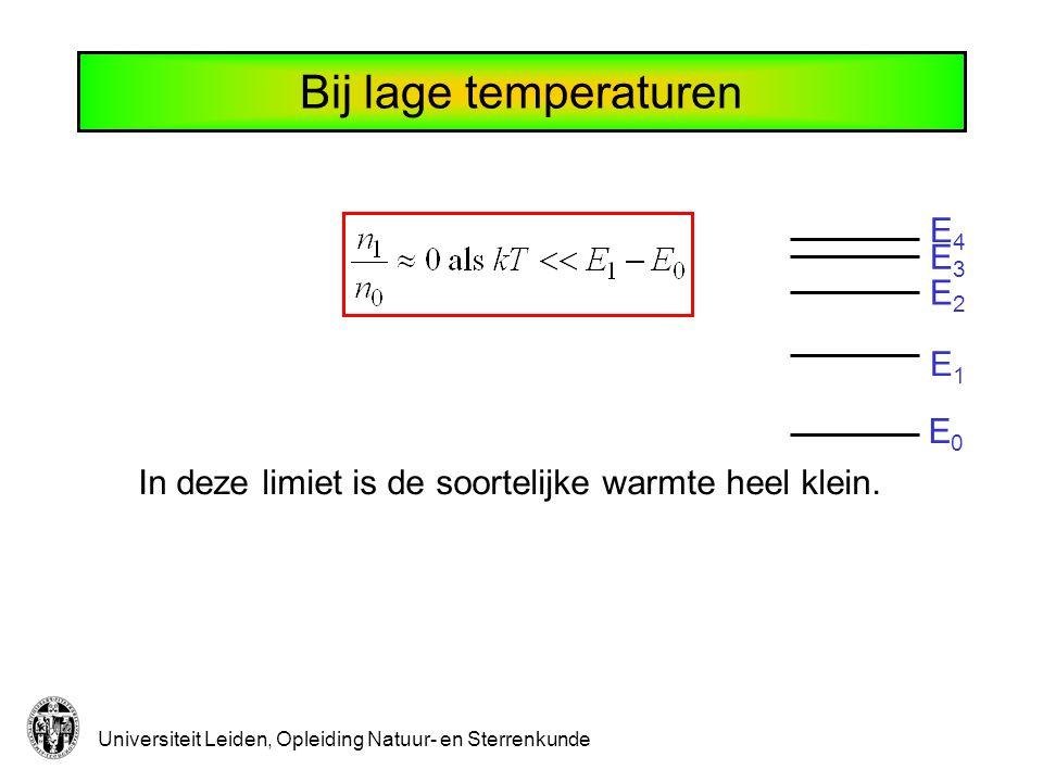 Universiteit Leiden, Opleiding Natuur- en Sterrenkunde E0E0 E1E1 E2E2 E3E3 E4E4 Bij lage temperaturen In deze limiet is de soortelijke warmte heel kle