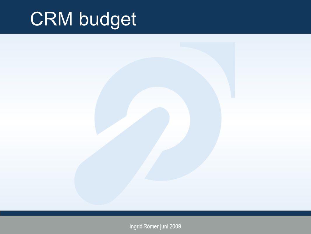 Ingrid Römer juni 2009 CRM budget