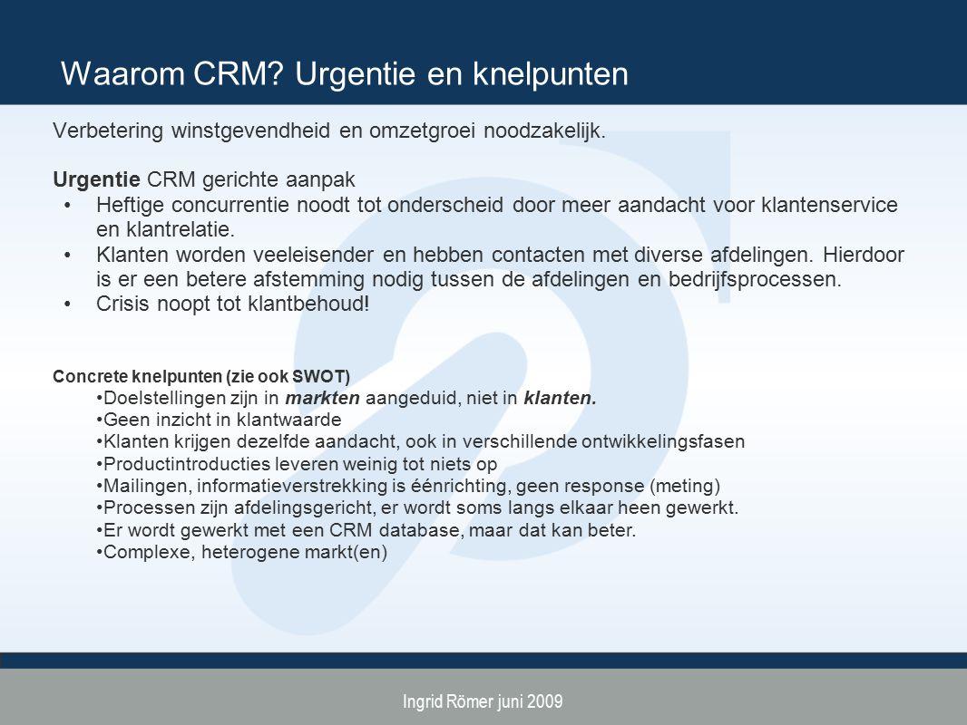 Ingrid Römer juni 2009 Waarom CRM? Urgentie en knelpunten Verbetering winstgevendheid en omzetgroei noodzakelijk. Urgentie CRM gerichte aanpak Heftige