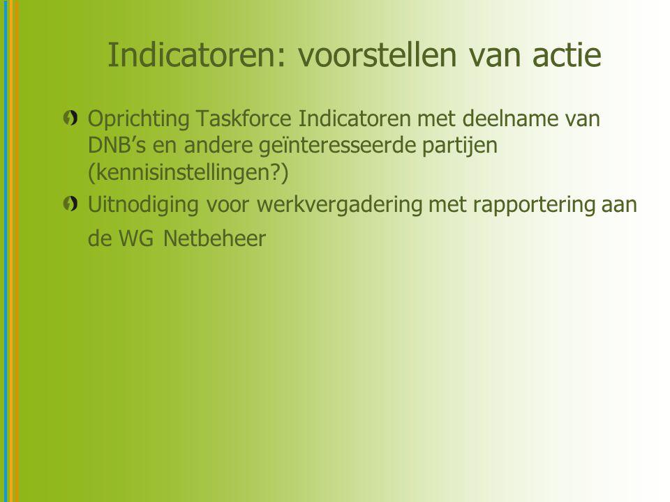 Indicatoren: voorstellen van actie Oprichting Taskforce Indicatoren met deelname van DNB's en andere geïnteresseerde partijen (kennisinstellingen?) Ui
