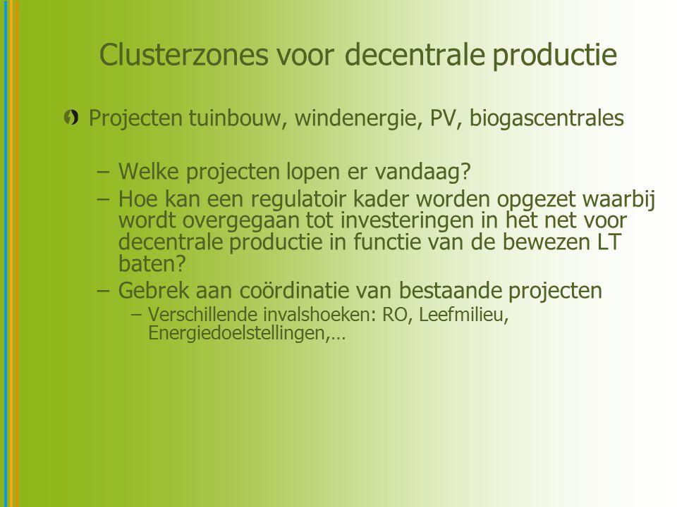 Clusterzones voor decentrale productie Projecten tuinbouw, windenergie, PV, biogascentrales –Welke projecten lopen er vandaag? –Hoe kan een regulatoir
