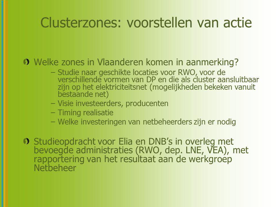 Clusterzones: voorstellen van actie Welke zones in Vlaanderen komen in aanmerking? –Studie naar geschikte locaties voor RWO, voor de verschillende vor