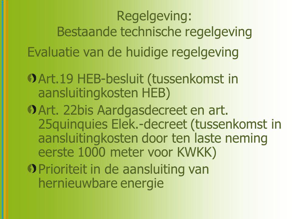 Regelgeving: Bestaande technische regelgeving Evaluatie van de huidige regelgeving Art.19 HEB-besluit (tussenkomst in aansluitingkosten HEB) Art. 22bi