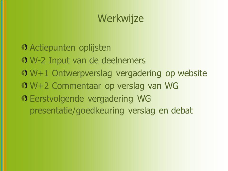 Actiepunten oplijsten W-2 Input van de deelnemers W+1 Ontwerpverslag vergadering op website W+2 Commentaar op verslag van WG Eerstvolgende vergadering