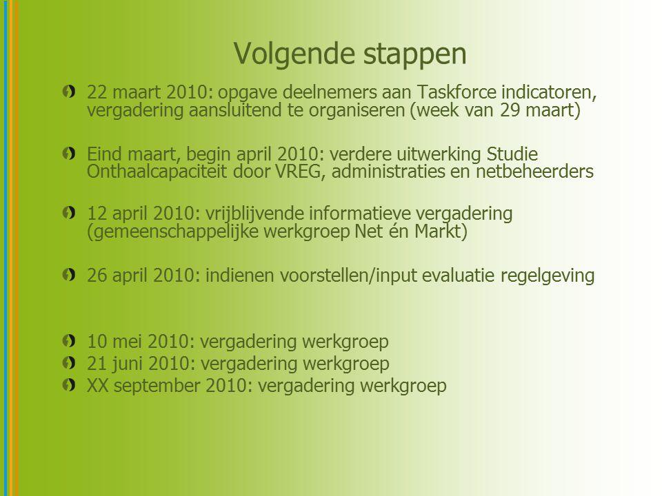 22 maart 2010: opgave deelnemers aan Taskforce indicatoren, vergadering aansluitend te organiseren (week van 29 maart) Eind maart, begin april 2010: v