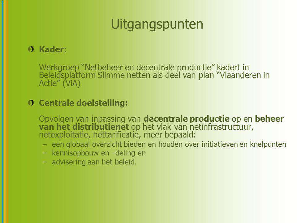 """Uitgangspunten Kader: Werkgroep """"Netbeheer en decentrale productie"""" kadert in Beleidsplatform Slimme netten als deel van plan """"Vlaanderen in Actie"""" (V"""