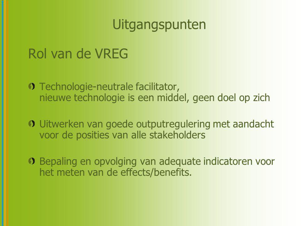 Uitgangspunten Rol van de VREG Technologie-neutrale facilitator, nieuwe technologie is een middel, geen doel op zich Uitwerken van goede outputreguler