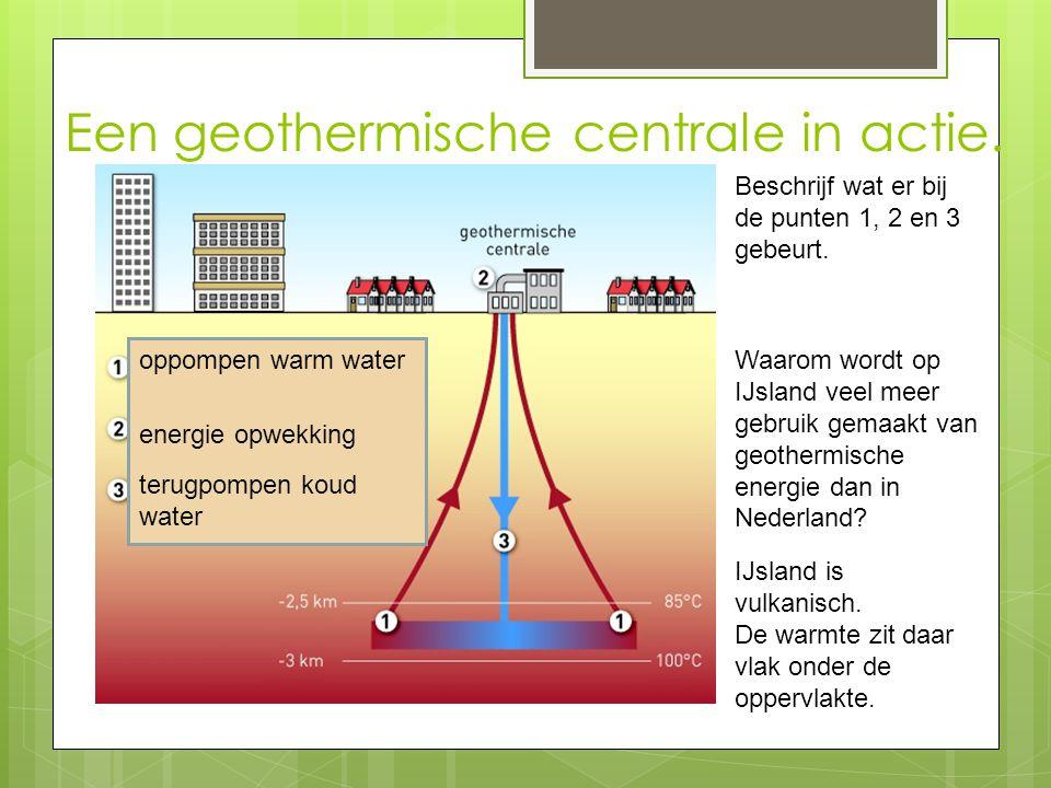Een geothermische centrale in actie. Beschrijf wat er bij de punten 1, 2 en 3 gebeurt. oppompen warm water energie opwekking terugpompen koud water Wa