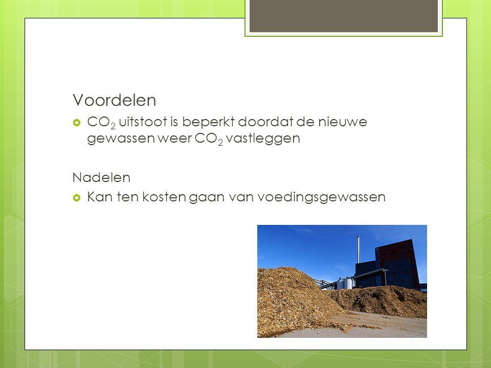 Voordelen  CO 2 uitstoot is beperkt doordat de nieuwe gewassen weer CO 2 vastleggen Nadelen  Kan ten kosten gaan van voedingsgewassen