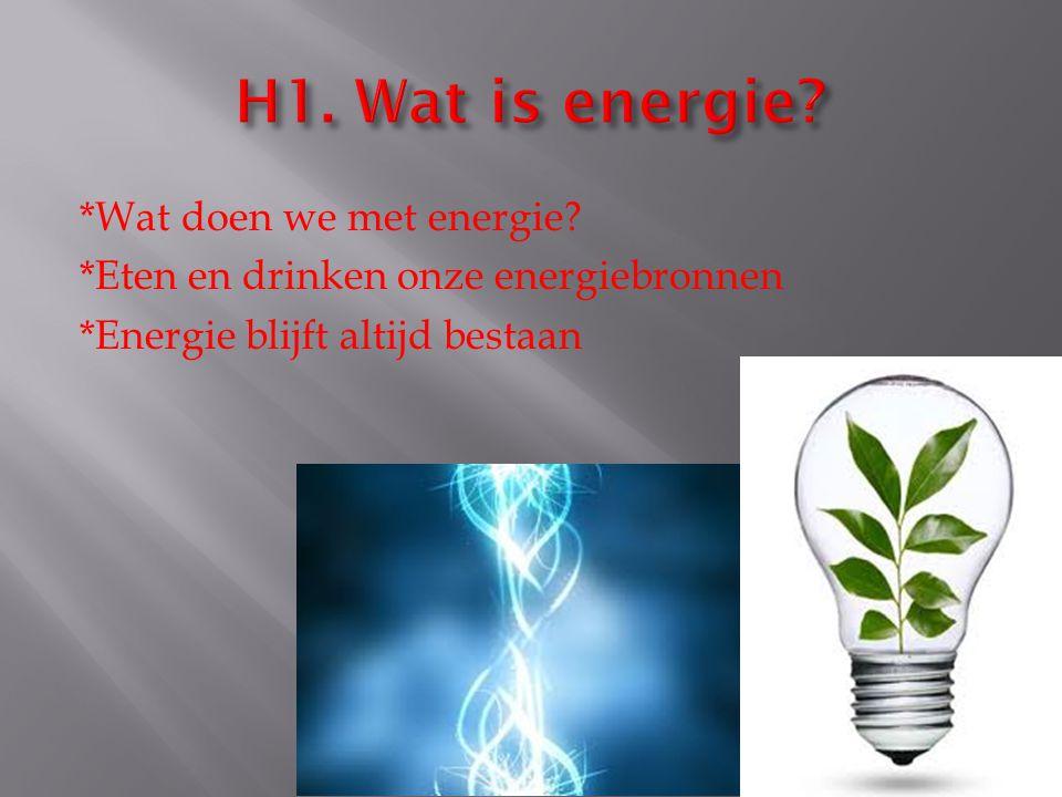 *Wat doen we met energie? *Eten en drinken onze energiebronnen *Energie blijft altijd bestaan