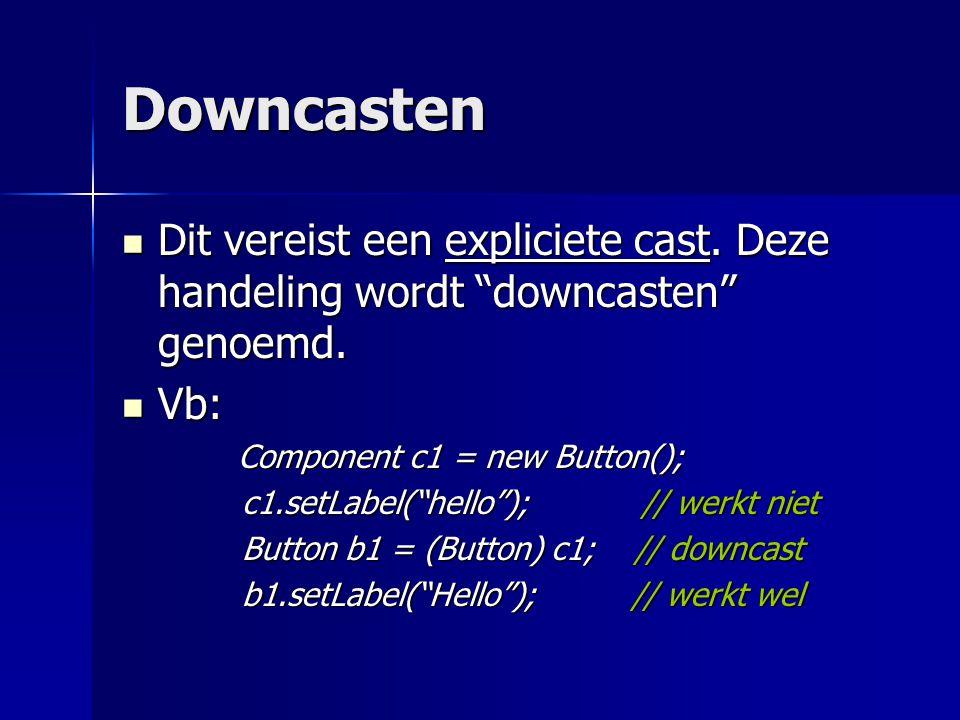 Downcasten Dit vereist een expliciete cast. Deze handeling wordt downcasten genoemd.