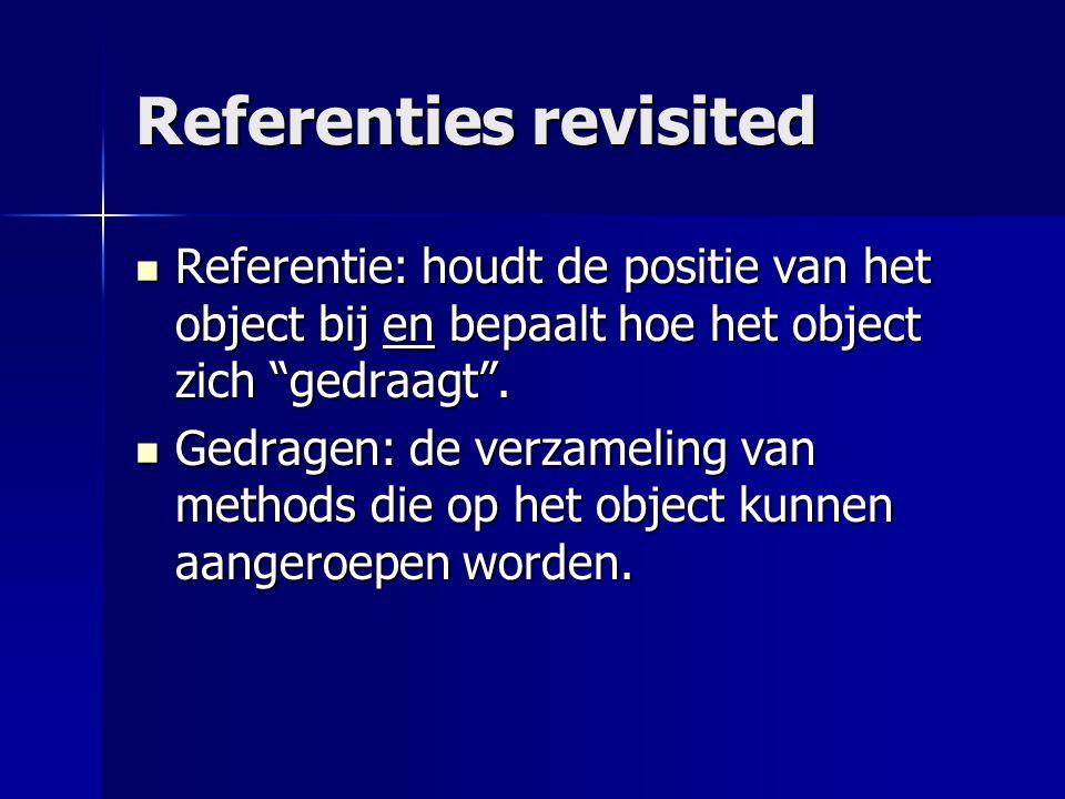 Referenties revisited Referentie: houdt de positie van het object bij en bepaalt hoe het object zich gedraagt .