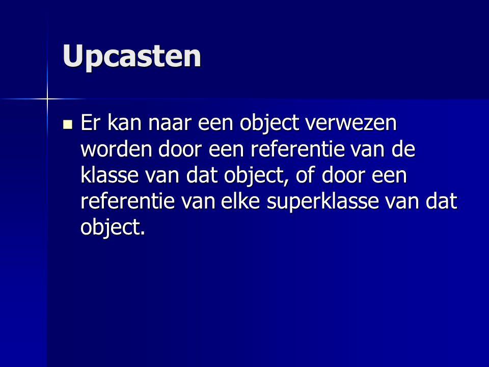 Upcasten Vb: Component c1 = new Button(); Vb: Component c1 = new Button();