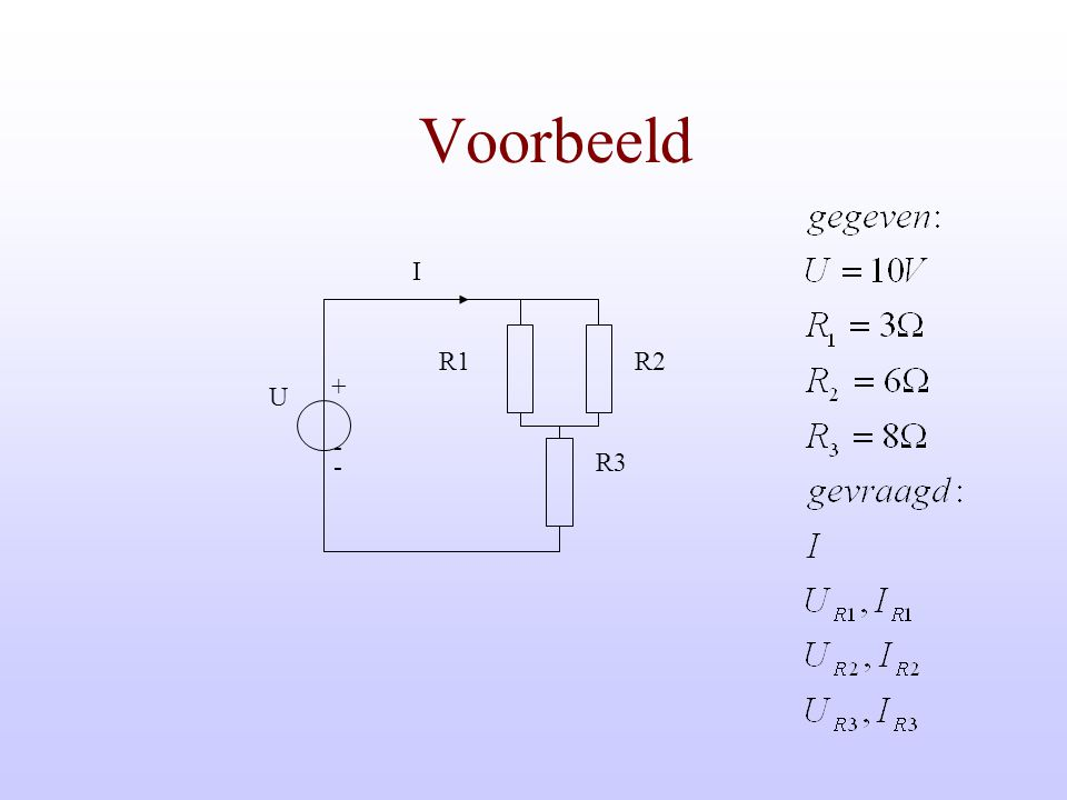 Parallel schakelen van weerstanden Rv R2 R1