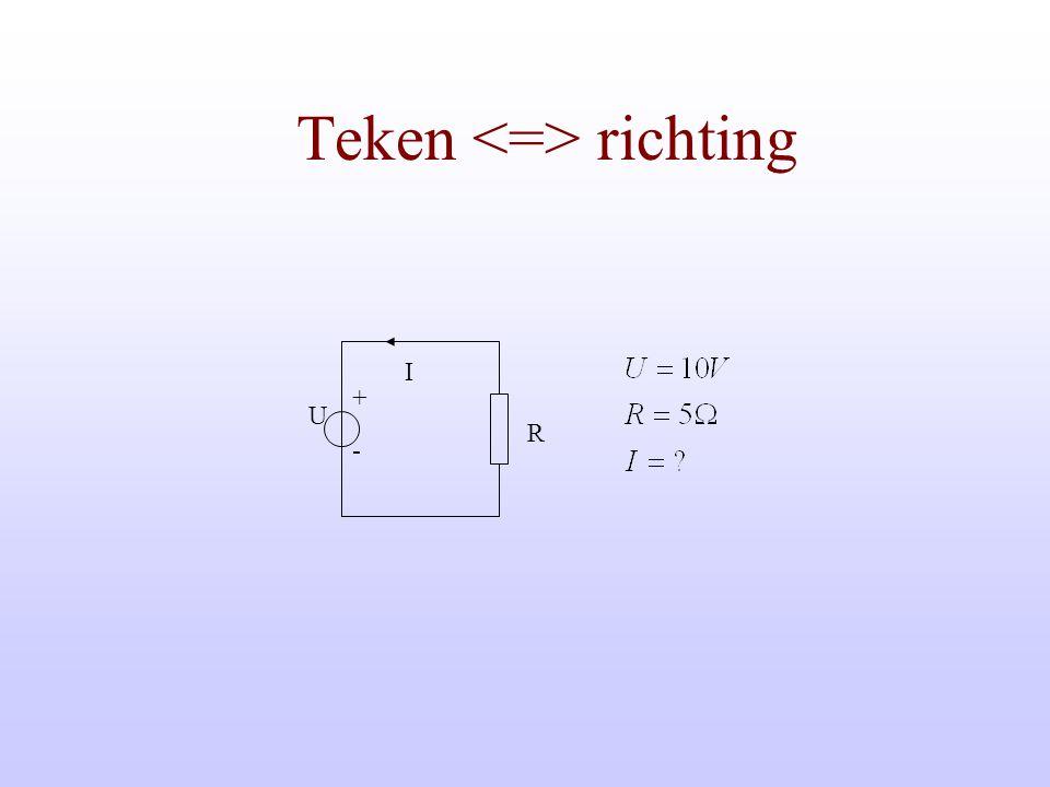 Kirchhoff De som van alle stromen in een knooppunt is 0 De som van alle spanningen in een maas is 0 + - U