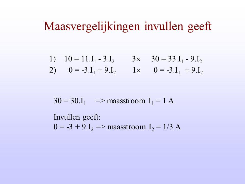 Maasmethoden R2R1 R3 U + - I II masen:  I:U = (R 1 +R3) I 1 - R1.I 2  II:0 = -R1.I 1 + (R1+R2) I 2 R2 U - - R3 R1 +