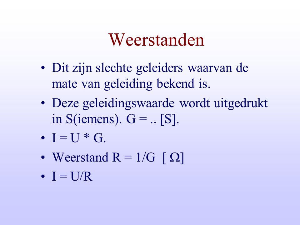 Spanningen, Stromen en weerstanden Wel spanning, geen stroom => weerstand ? Geen spanning, wel stroom => weerstand ? Wel spanning en ook stroom => wee