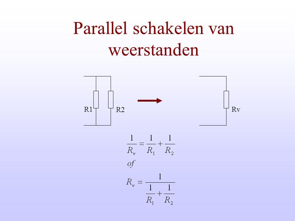 G U + - I Parallel schakelen van weerstanden/geleiders Bij parallel schakelen mogen de geleidingen worden opgeteld. G2 G1 U + - I