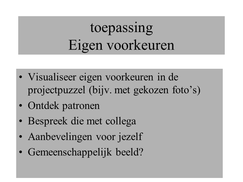 toepassing Eigen voorkeuren Visualiseer eigen voorkeuren in de projectpuzzel (bijv.