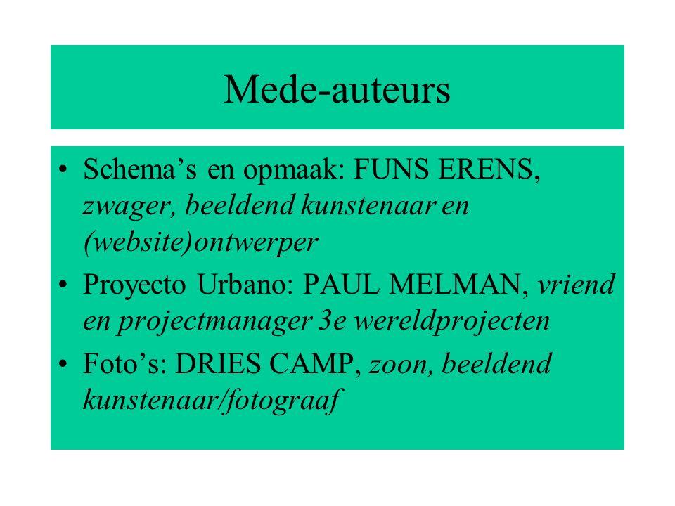 Mede-auteurs Schema's en opmaak: FUNS ERENS, zwager, beeldend kunstenaar en (website)ontwerper Proyecto Urbano: PAUL MELMAN, vriend en projectmanager 3e wereldprojecten Foto's: DRIES CAMP, zoon, beeldend kunstenaar/fotograaf