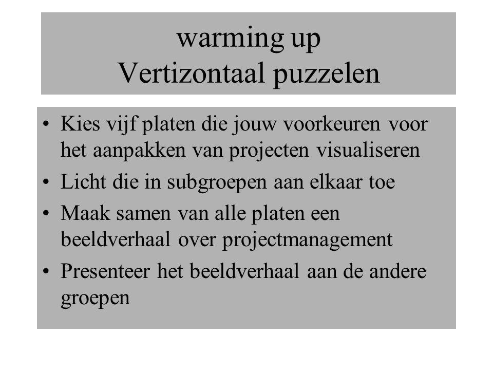 warming up Vertizontaal puzzelen Kies vijf platen die jouw voorkeuren voor het aanpakken van projecten visualiseren Licht die in subgroepen aan elkaar toe Maak samen van alle platen een beeldverhaal over projectmanagement Presenteer het beeldverhaal aan de andere groepen