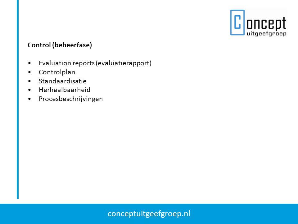conceptuitgeefgroep.nl Control (beheerfase) Evaluation reports (evaluatierapport) Controlplan Standaardisatie Herhaalbaarheid Procesbeschrijvingen