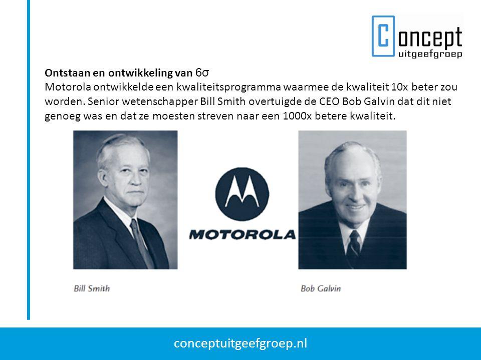 conceptuitgeefgroep.nl Ontstaan en ontwikkeling van 6σ Motorola ontwikkelde een kwaliteitsprogramma waarmee de kwaliteit 10x beter zou worden. Senior