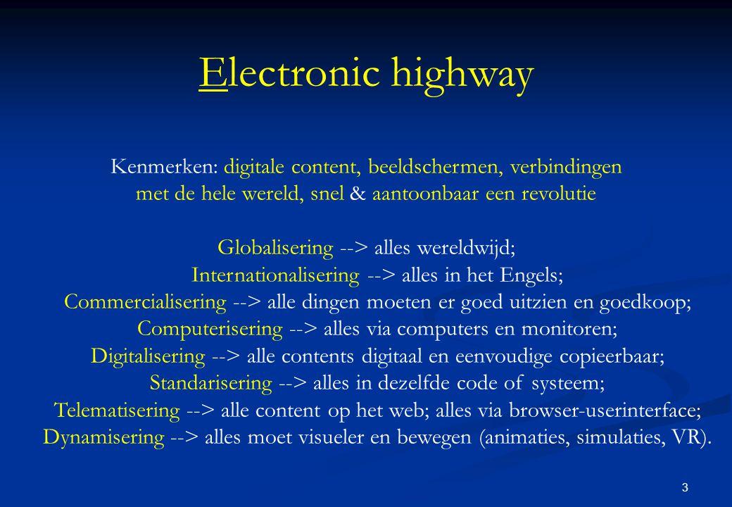 3 Electronic highway Kenmerken: digitale content, beeldschermen, verbindingen met de hele wereld, snel & aantoonbaar een revolutie Globalisering --> alles wereldwijd; Internationalisering --> alles in het Engels; Commercialisering --> alle dingen moeten er goed uitzien en goedkoop; Computerisering --> alles via computers en monitoren; Digitalisering --> alle contents digitaal en eenvoudige copieerbaar; Standarisering --> alles in dezelfde code of systeem; Telematisering --> alle content op het web; alles via browser-userinterface; Dynamisering --> alles moet visueler en bewegen (animaties, simulaties, VR).