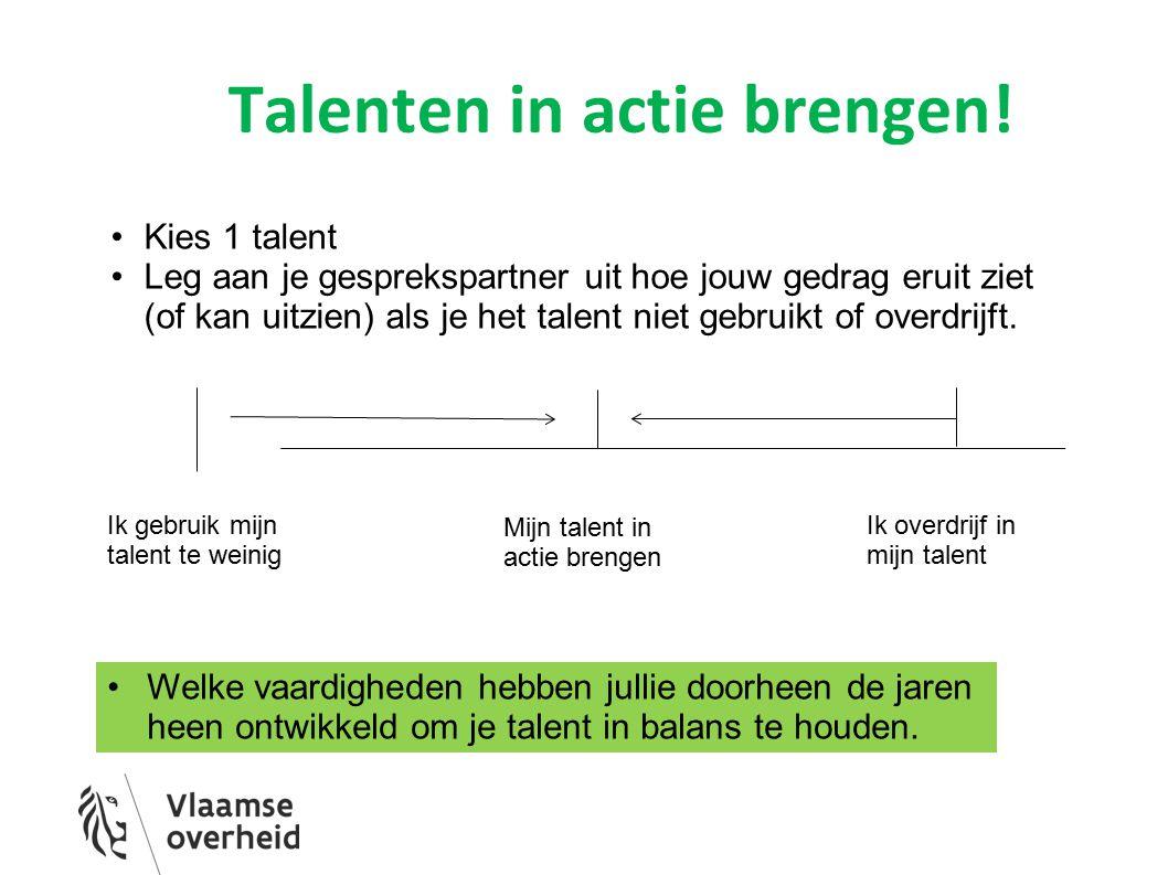 Talenten in actie brengen! Ik gebruik mijn talent te weinig Mijn talent in actie brengen Ik overdrijf in mijn talent Kies 1 talent Leg aan je gespreks